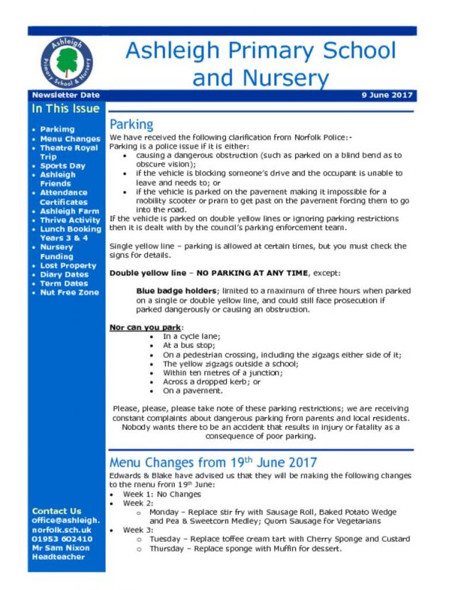 Newsletters – Ashleigh Primary School & Nursery
