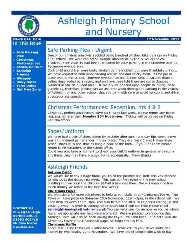 thumbnail of 17 11 17 Ashleigh School Newsletter