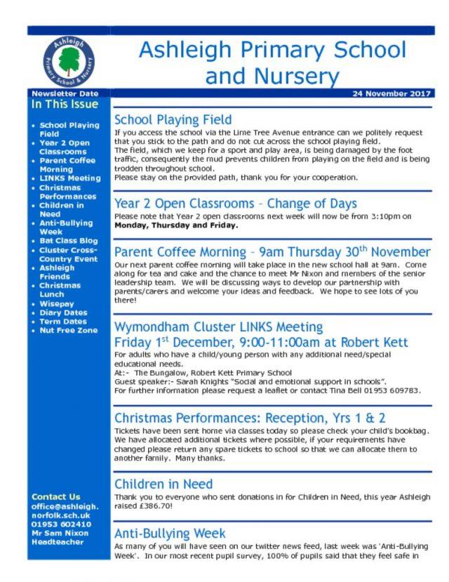thumbnail of 24 11 17 Ashleigh School Newsletter