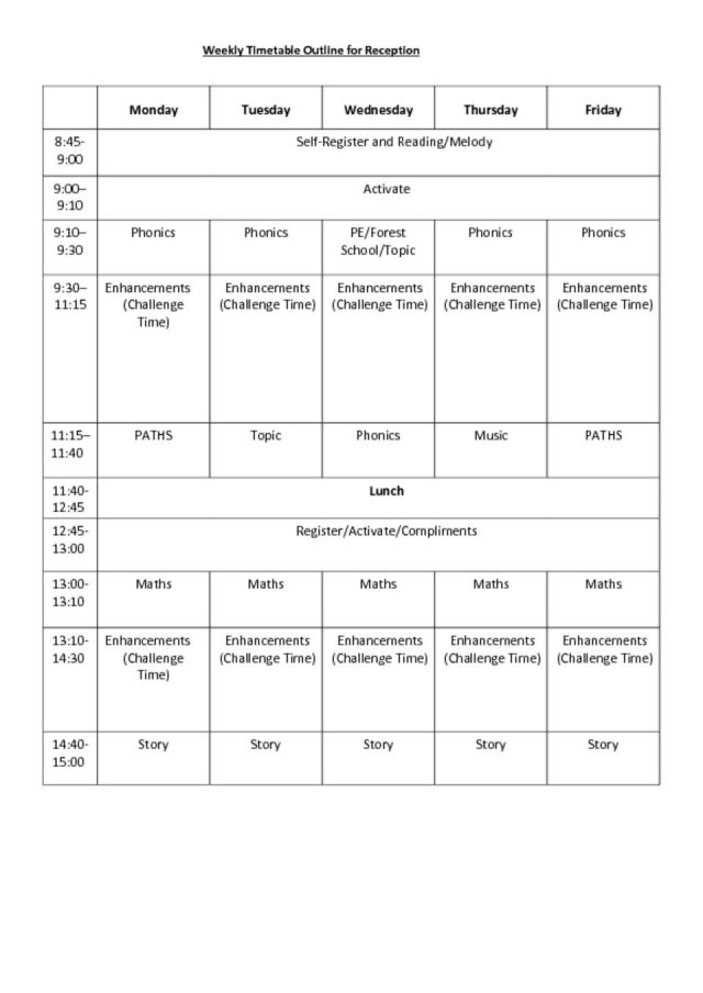 thumbnail of Weekly Timetable Outline for Reception Spring 2018