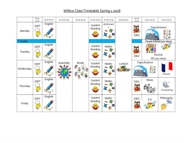 thumbnail of Willow timetable spring 1