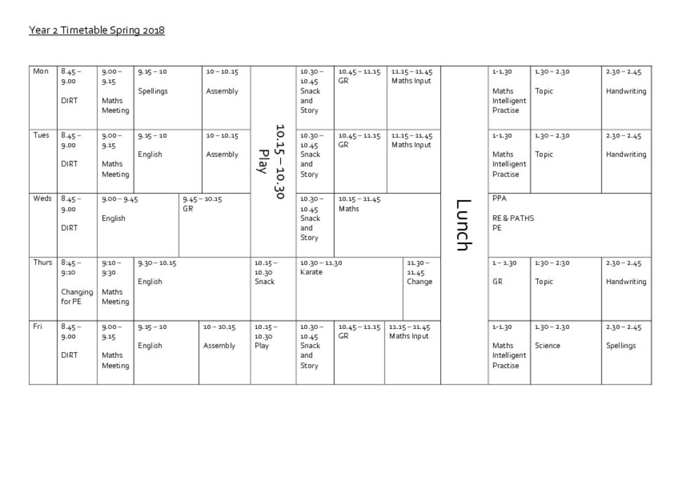 thumbnail of Year 2 Timetable