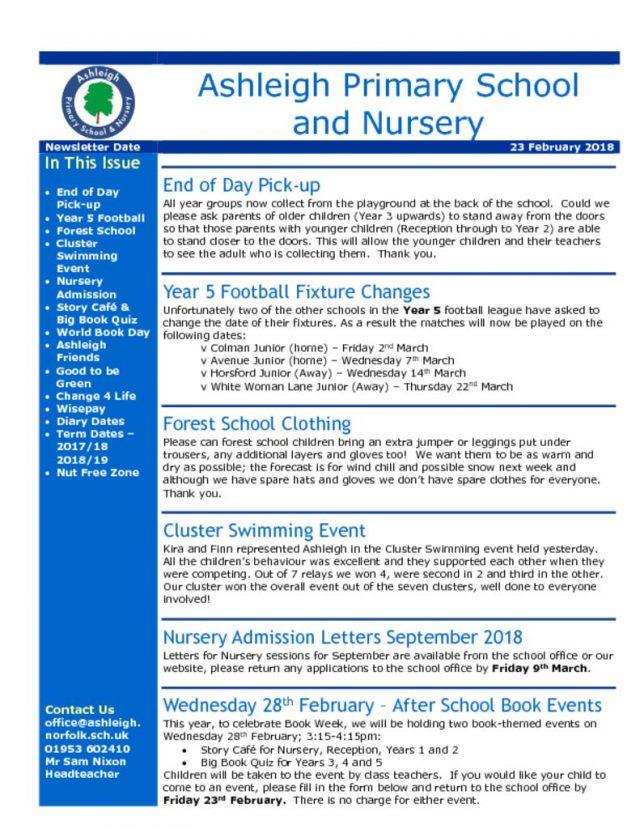 thumbnail of 23 02 18 Ashleigh School Newsletter
