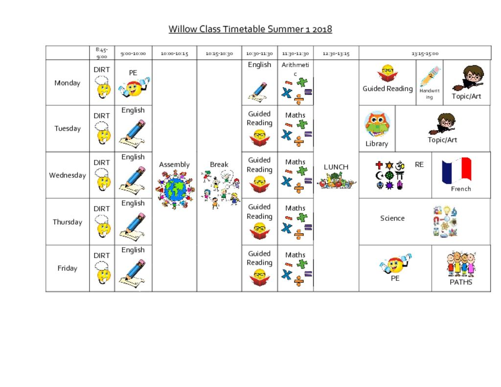 thumbnail of Willow timetable summer 1