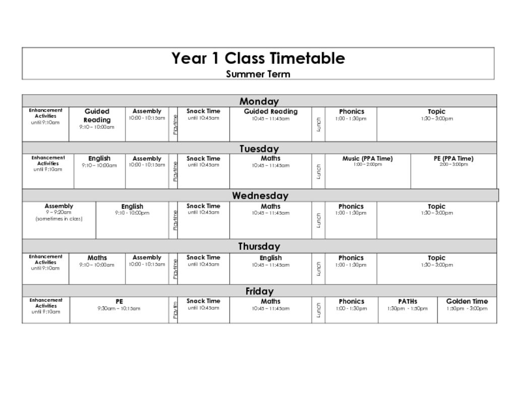 thumbnail of Year 1 blank timetable