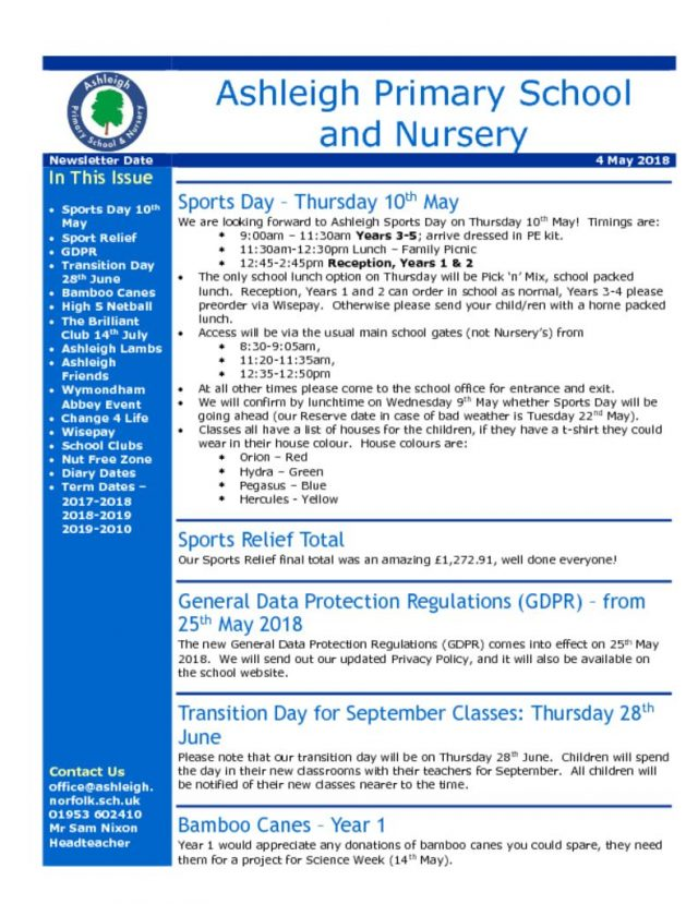 Newsletters  Ashleigh Primary School  Nursery