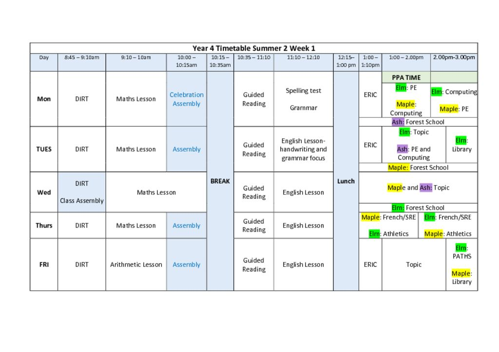 thumbnail of Summer Term 2 Timetable