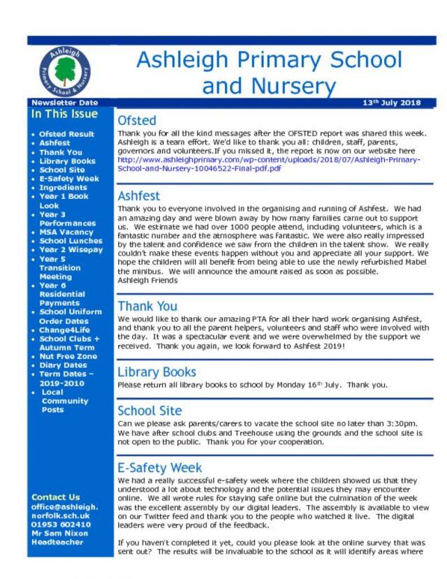 thumbnail of 13 07 18 Ashleigh School Newsletter