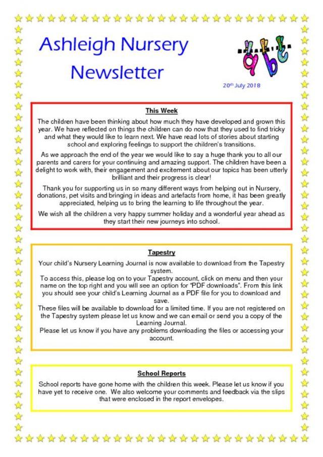 thumbnail of 20 07 18 Ashleigh Nursery Newsletter