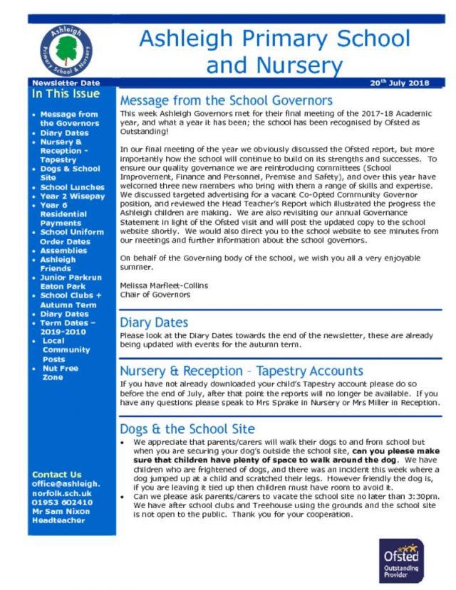 thumbnail of 20 07 18 Ashleigh School Newsletter