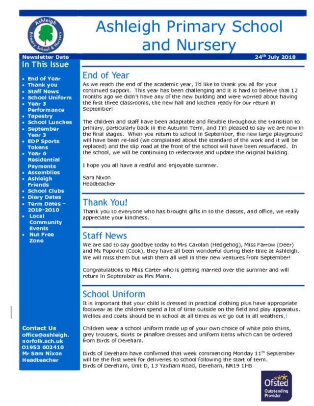 thumbnail of 24 07 18 Ashleigh School Newsletter