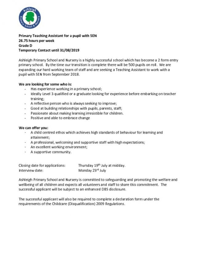 primary teaching assistant required – ashleigh primary school & nursery