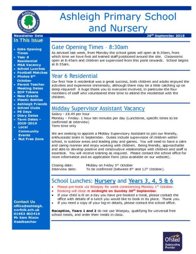 thumbnail of 28 09 18 Ashleigh School Newsletter