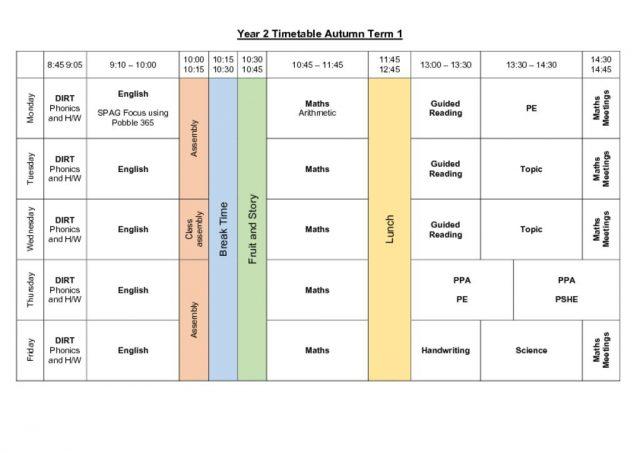thumbnail of Year 2 Timetable Autumn Term 1