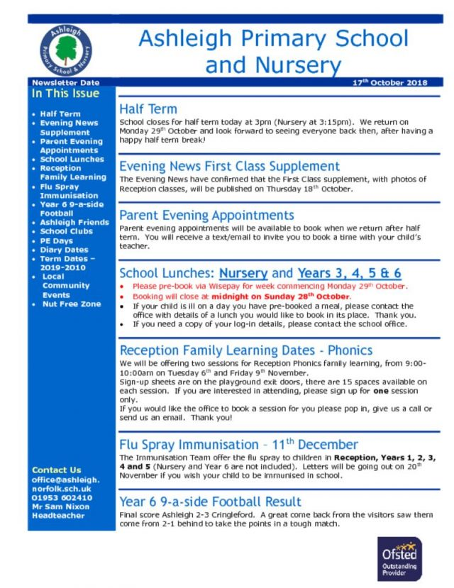 thumbnail of 17 10 18 Ashleigh School Newsletter