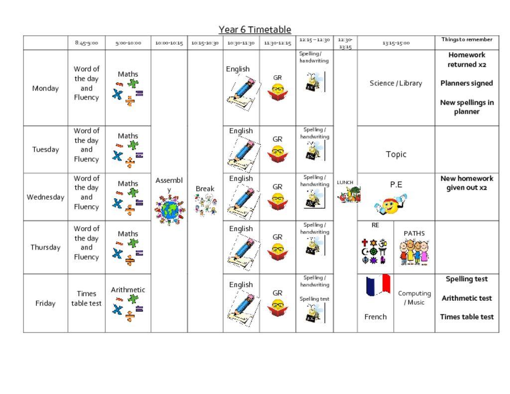 thumbnail of Year 6 autumn 2 timetable
