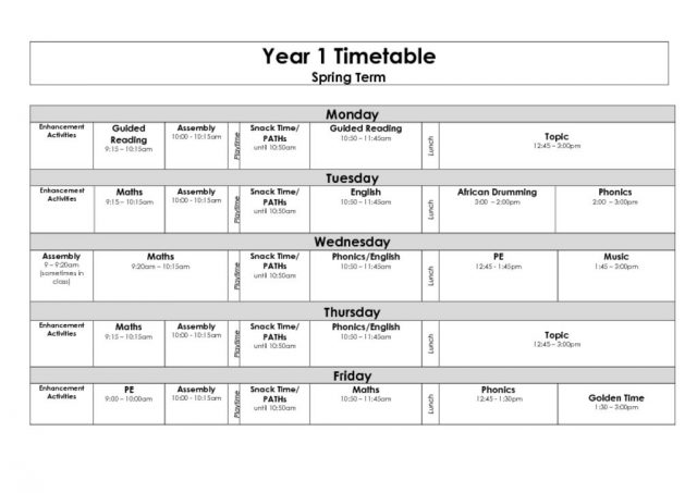 thumbnail of Year 1 Timetable Spring