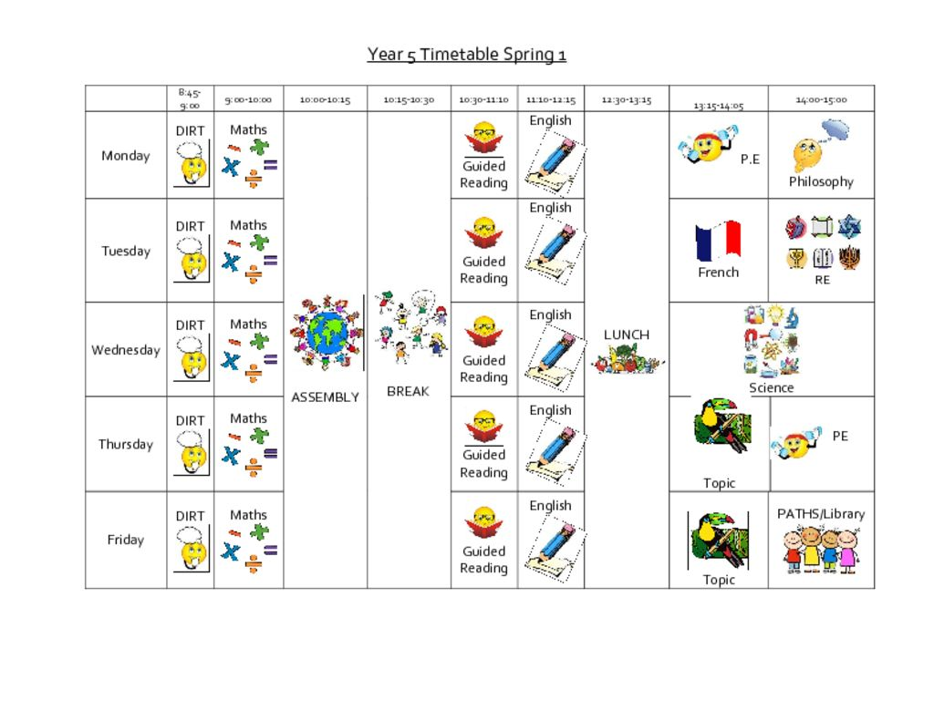 thumbnail of Year 5 spring timetable