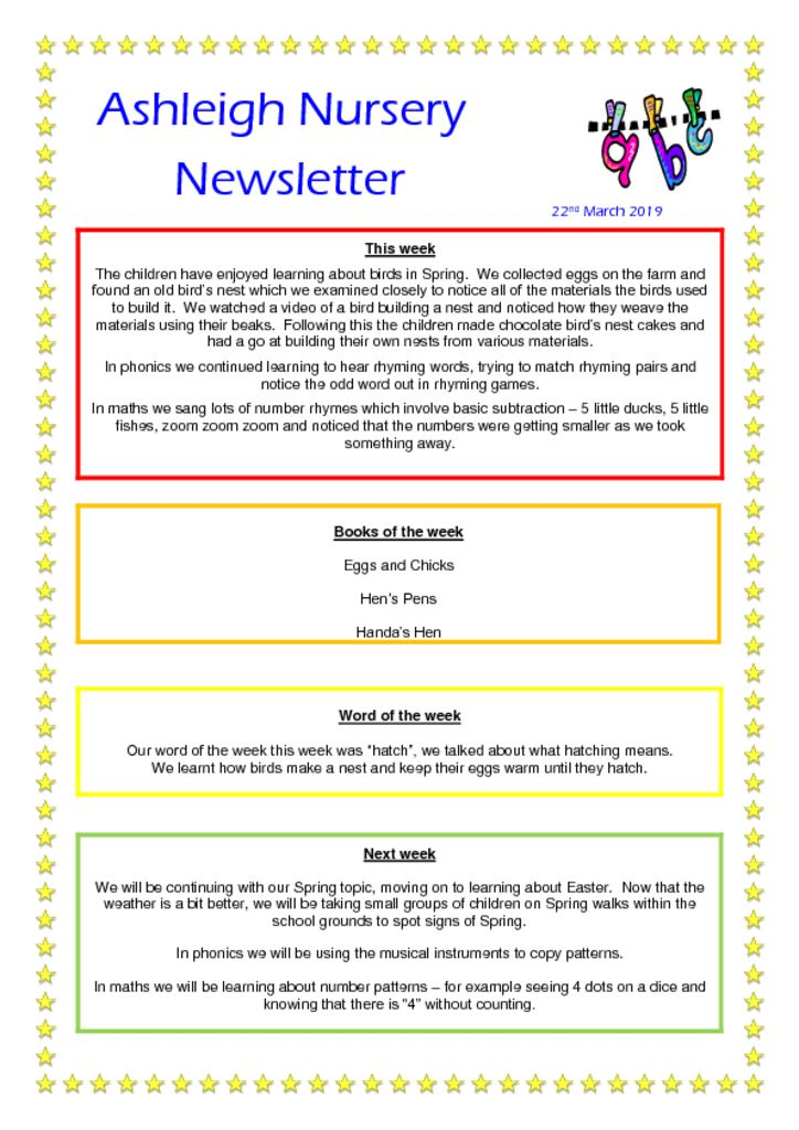 thumbnail of 22 03 19 Ashleigh Nursery Newsletter