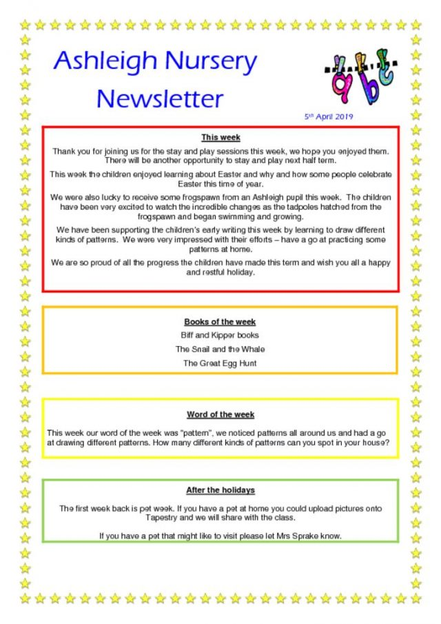 Ashleigh Nursery Newsletter