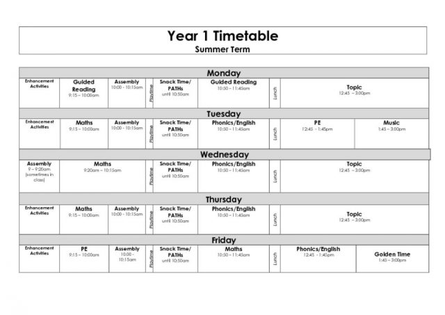 thumbnail of Year 1 Timetable Summer