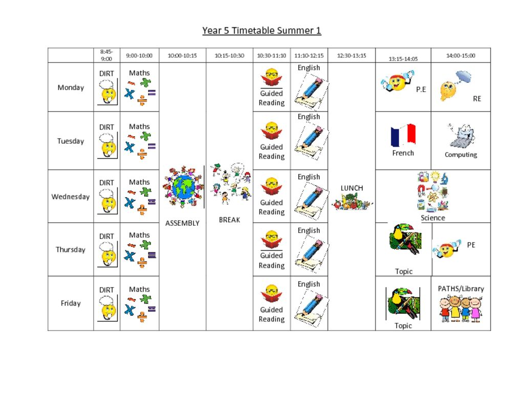 thumbnail of Year 5 summer timetable