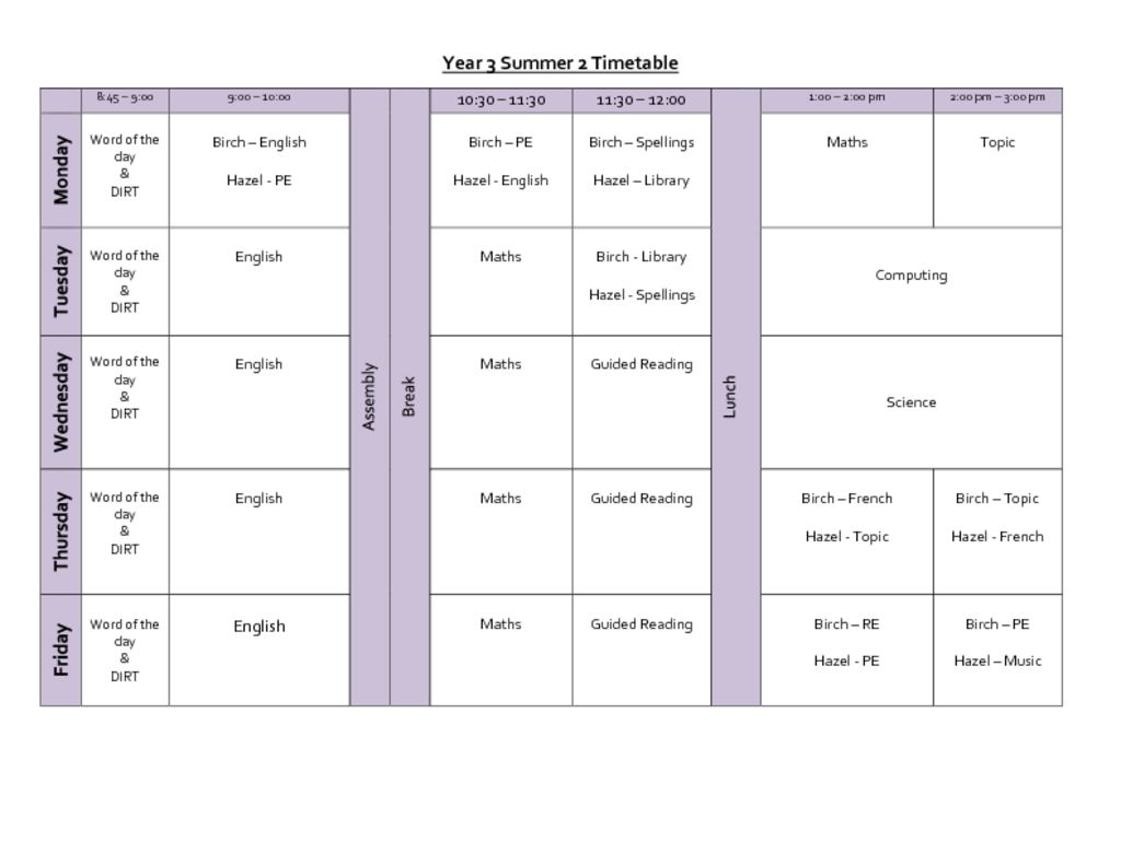 thumbnail of Summer 2 Timetable