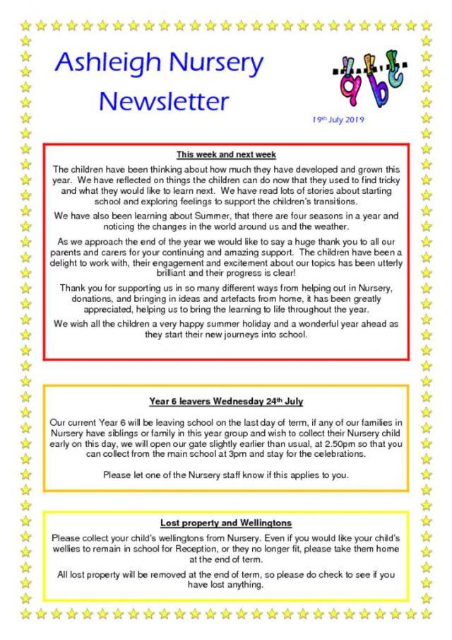 thumbnail of 19 07 19 Ashleigh Nursery Newsletter