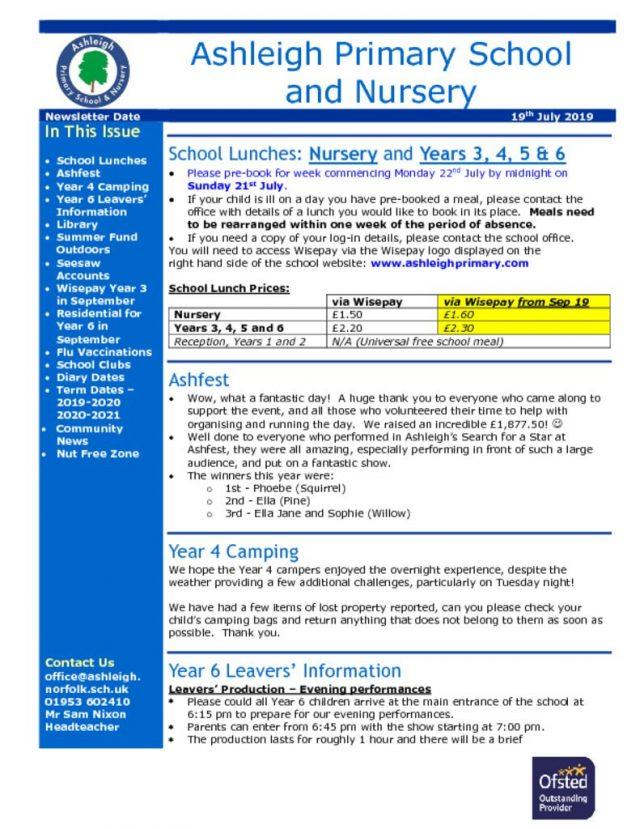 thumbnail of 19 07 19 Ashleigh School Newsletter