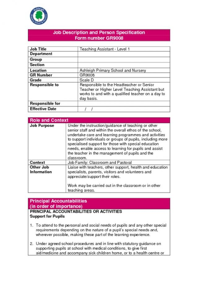 thumbnail of TA Job Description and Person Specification