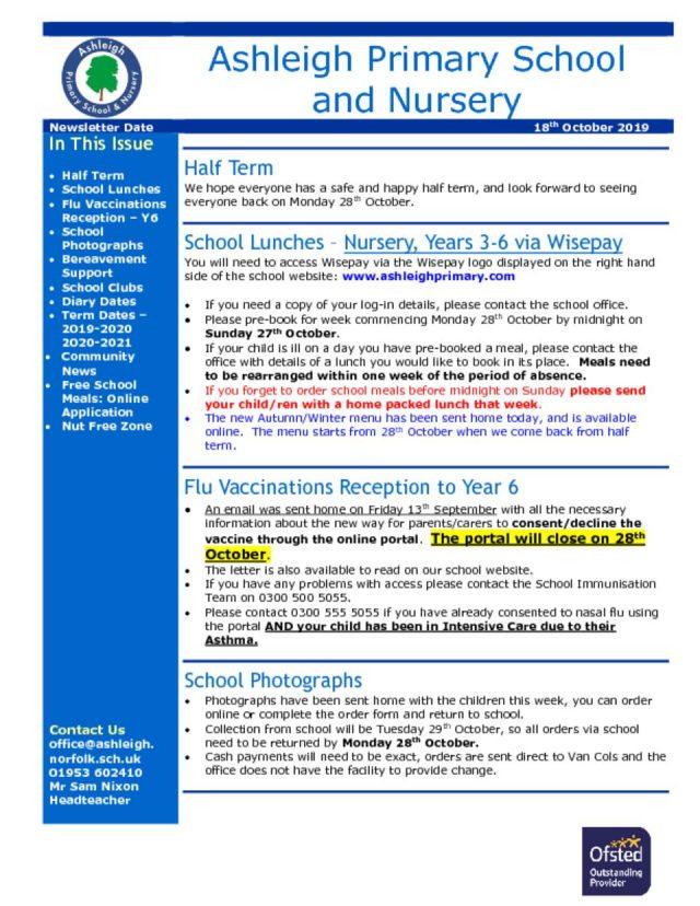 thumbnail of 18 10 19 Ashleigh School Newsletter