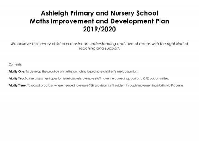 thumbnail of Ashleigh Primary School Maths Development Plan 2019-2020