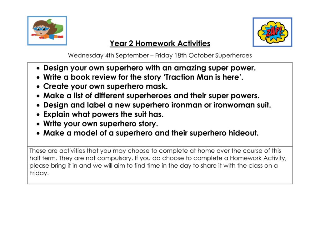 thumbnail of Autumn 1 homework Activities – Superheroes