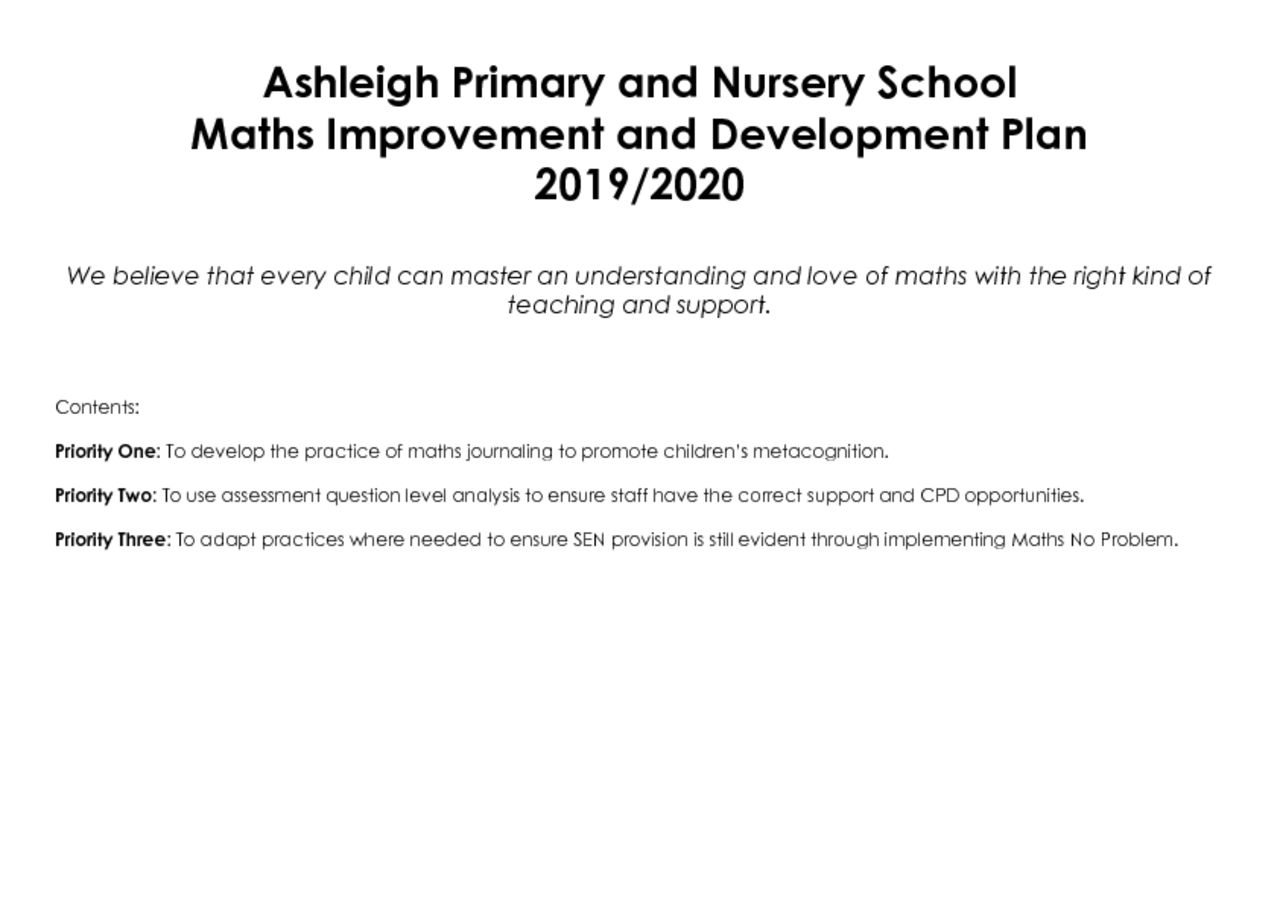 thumbnail of Ashleigh Primary School Maths Development Plan 2019-2020